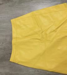 Žuta kožna suknja