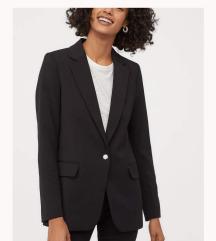 Novi H&M crni dugi sako