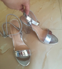 Srebrne sandale na petu SNIŽENE