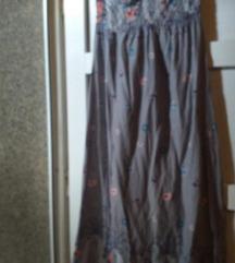 Maxi cvijetna haljina bez naramenica 38