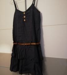 Lanena haljina s volančićima i pojasom