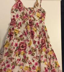 Pamučna cvijetna lepršava ljetna haljina S