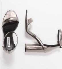 Zalando metalic/srebrne cipele na petu