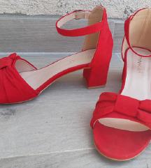 Crvene sandale sa mašnicom blok peta