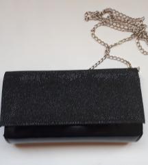 Mala crna šljokasta ženska torbica