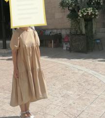 Zara haljina s volanima duga Midi beige