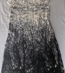 Sivo-plava kratka haljina/tunika s motivom grana
