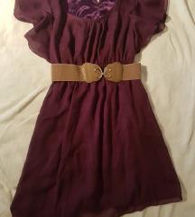 Ljubičasta lepršava haljina