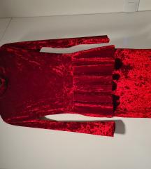 Baršunasta crvena haljina NOVO