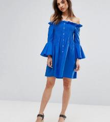 Mango plava ruffle tshirt dress