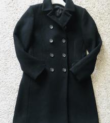Predivan crni zimski kaput vel S-M