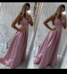 Roza svečana duga haljina S/M