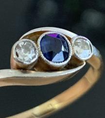 Prsten safir i dijamanti