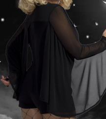 Missguided Halloween Mesh Cape Playsuit