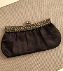 Mala crna svečana torbica s cirkonima