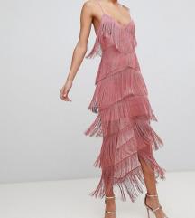 Asos pink fringe dress