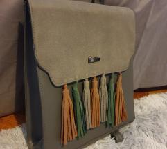 Sivi kockasti ruksak s resicama