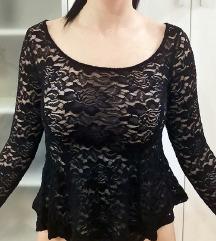 H&M Crna čipkasta majica s volanima XXS / 32