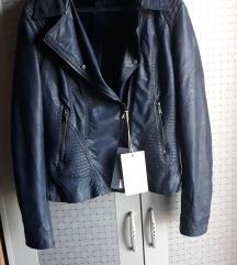 Tamno plava biker jakna