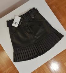 ZARA mini kožna suknja XS