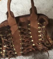 Vintage torbica prava koža i krzno
