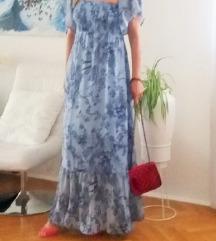 Plava duga haljina s volanom