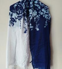 Pamučni plavo bijeli cvjetni šal