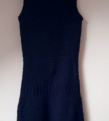 Zimska pletena haljina bez rukava plava novo 38