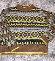 Zara jacquard knit pulover s metaliziranim nitima