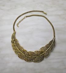 Zlatna ogrlica u obliku lista