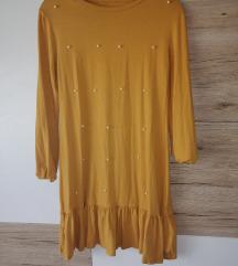Žuta haljina sa perlama