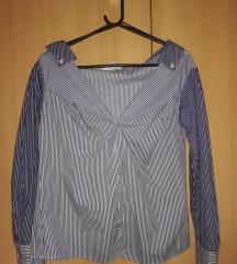 Nova H&M plava košulja bez ramena