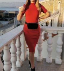 Zara crvena midi haljina