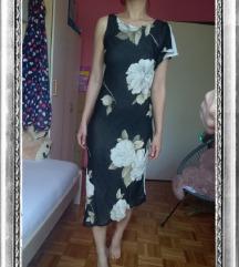 Crna asimetrična cvjetna haljina, vel XS (34)