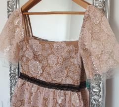 Self-Portrait Rose Tiered Midi čipkasta haljina
