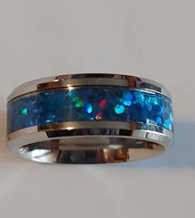 Prsten celik,opal sin.
