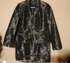Kostim suknja jakna sako siva srebrna 42 44 xxl