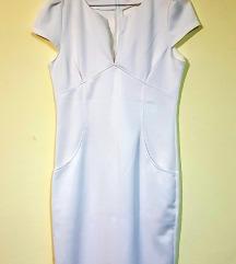 Ženska bijela pencil haljina s V izrezom