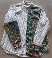 Zara prugasta patchwork košulja s uzorkom