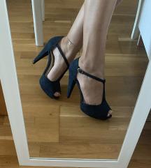 Tamnoplave sandale na petu👡