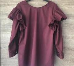 Zara bordo bluza s volanima