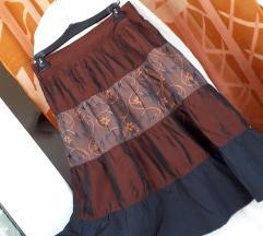 Bakreno-crna široka suknja L