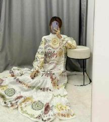 Zara bijela maxi vezena haljina