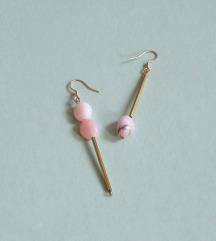 Mismatch naušnice od mjedi i ružičastog opala