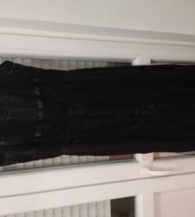 Crna  svečana haljina sa čipkom 38/40