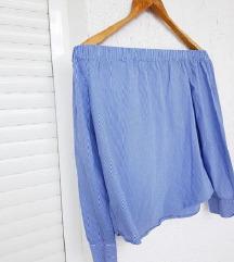 ZARA off shoulder plava košulja na pruge