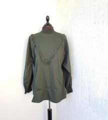 ZARA maslinasto zelena bluza dugih rukava