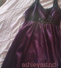 Ljubicasto crna plisana haljina 164/ xxs