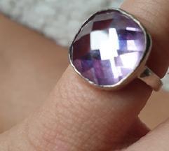 prsten pravo srebro 16mm ametist