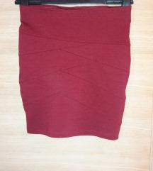 uska bordo suknja